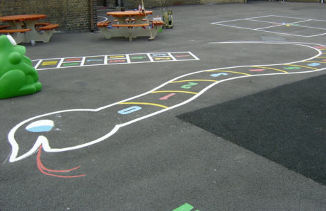 Playground Markings, painted for the budget conscious and thermoplastic for prolonged endurance.